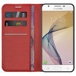 Leather Wallet Case & Card Holder for Samsung Galaxy J5 Prime - Red